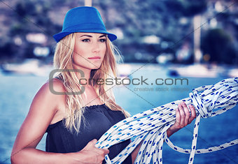Beautiful woman on sailboat