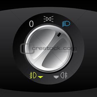 Analog light control gauge for automobiles