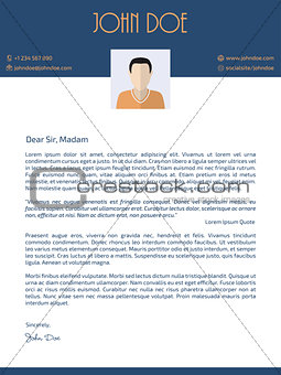 Flat style cover letter design