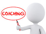 coaching word written by white people. 3d image