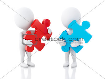 3d white people with piece of a puzzle.