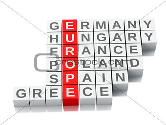 3d europe concept. Crossword with letters