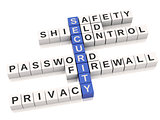 3d security concept. Crossword with letters.