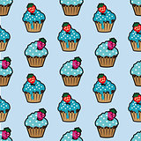 Cream cake blue seamless pattern