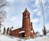 Rural Church in the Snow