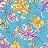 Pattern with colored abstract feathers