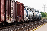 Freight train tanker cars in perspective