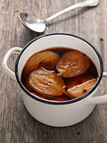 pot of rustic poached pear