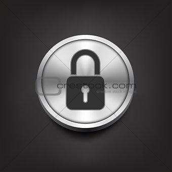 Closed lock icon on silver button