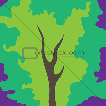 Abstract art tree green color