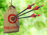 Creativity - Arrows Hit in Red Target.