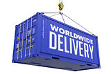 Worldwide Delivery - Blue Hanging Cargo Container.