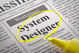 System Designer Vacancy in Newspaper.