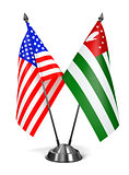 USA and Abkhazia - Miniature Flags.