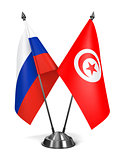 Russia and Tunisia - Miniature Flags.