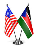 USA and South Sudan - Miniature Flags.