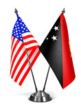USA and Papua New Guinea - Miniature Flags.