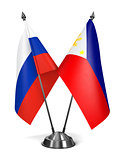 Russia and Philippines - Miniature Flags.