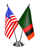 USA and Zambia - Miniature Flags.