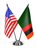 USA and Zambia - Miniature Flags.