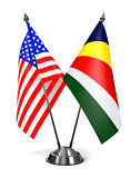 USA and Seychelles - Miniature Flags.