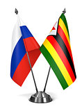 Russia and Zimbabwe - Miniature Flags.