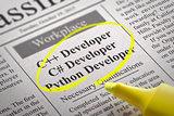 C Developer, Python Developer Jobs in Newspaper.