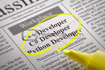 C Developer, Python Developer Jobs in Newspaper.