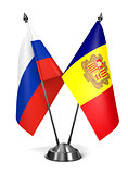 Russia and Andorra - Miniature Flags.
