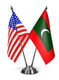 USA and Maldives - Miniature Flags.