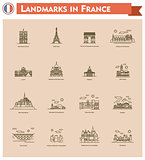France landmarks icon set