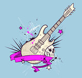 Background with electric guitar and skull