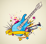 Background with electric guitar and trumpet