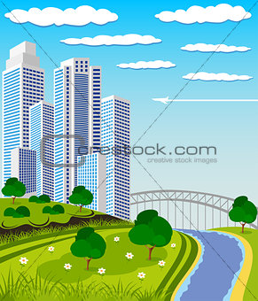 Modern metropolis skyline