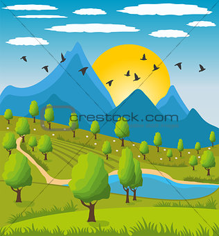 Beauty landscape with mountain background