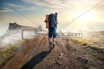 Climbing tourist