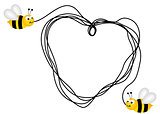 Bees creating a heart with a piece of string