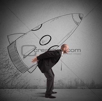 Businessman  with spaceship