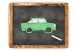 Blackboard Green Car