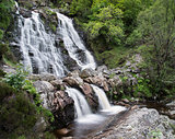Rhiwargor Waterfall landscape in Snowdonia National Park during