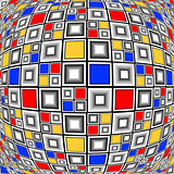Design warped colorful checked mosaic pattern