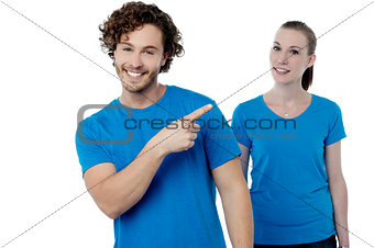 Casual couple over white background