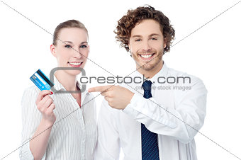 Business people showing credit card