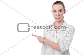 Corporate lady pointing at something