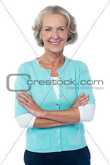 Old lady in casual wear posing confidently