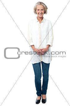 Attractive cheerful trendy senior woman