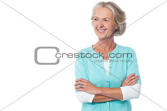 Old lady in casual wear looking away