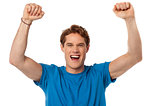 Successful excited isolated young guy