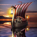 Viking boat in the sea