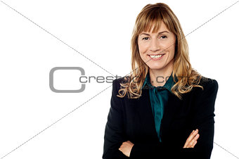 Corporate lady posing on white background